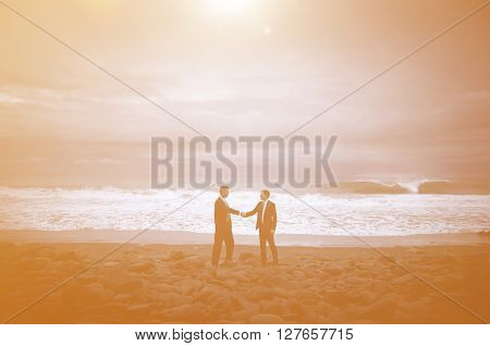 Business Handshake Beach Concept