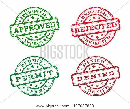 Green approved, permit logo stamp and red rejected, denied logo stamp. grunge style on white background. vector illustration. template for web design. infographics