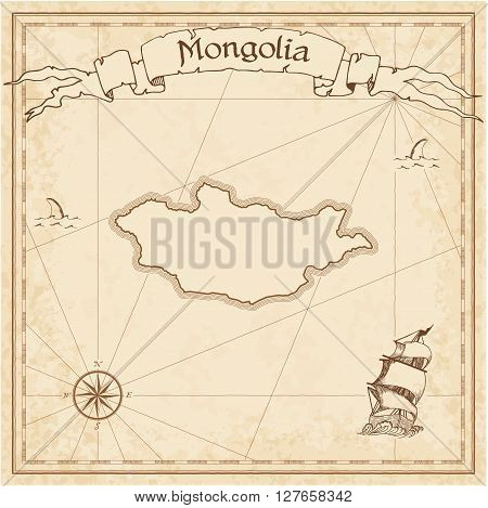 Mongolia Old Treasure Map. Sepia Engraved Template Of Pirate Map. Stylized Pirate Map On Vintage Pap