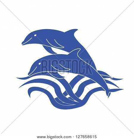 Two dolphins jumping out of the water. Two cute blue Dolphin. Outline illustration of two dolphins.