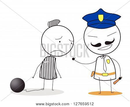 Jail man .eps10 editable vector illustration design