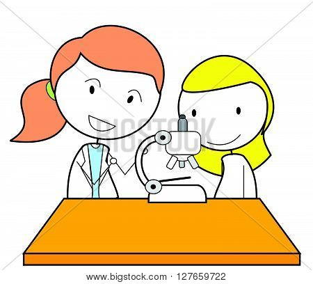 Girl scientist .eps10 editable vector illustration design