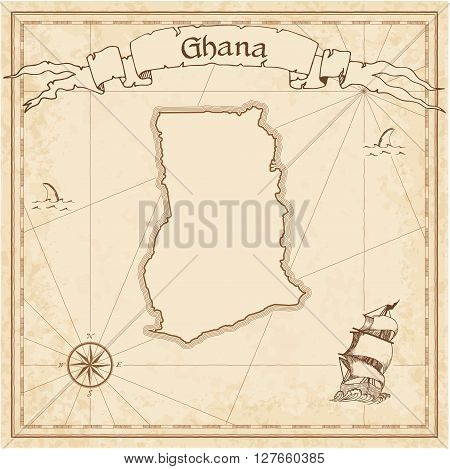 Ghana Old Treasure Map. Sepia Engraved Template Of Pirate Map. Stylized Pirate Map On Vintage Paper.