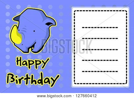 Birthday card with illustration cute rhino .eps10 editable vector illustration design