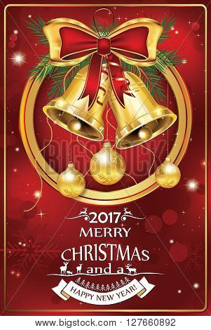 Business Christmas & New Year 2017 celebration greeting card. Contains baubles, golden ribbon, pine branches, jingle bells. Print colors used; custom size of a printable greeting card.