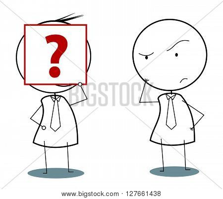 Businessman with wondering question .eps10 editable vector illustration design