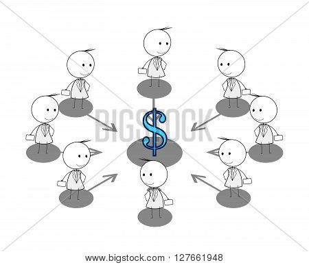 Businessman money attraction .eps10 editable vector illustration design