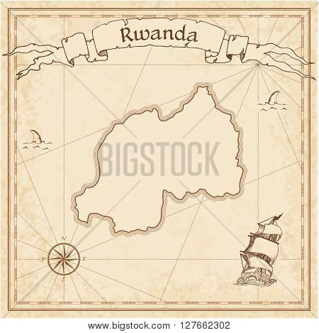 Rwanda Old Treasure Map. Sepia Engraved Template Of Pirate Map. Stylized Pirate Map On Vintage Paper