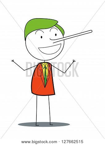 Business man nose long .eps10 editable vector illustration design