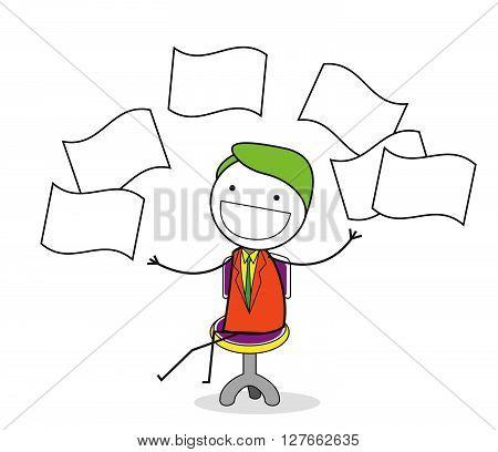 Businessman throw paper .eps10 editable vector illustration design