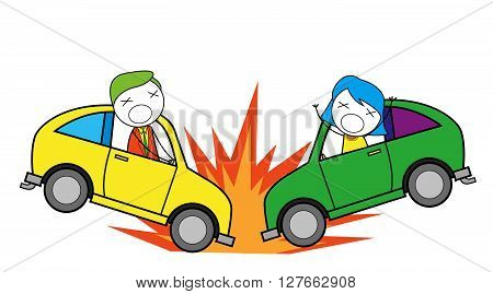 Car accident .eps10 editable vector illustration design
