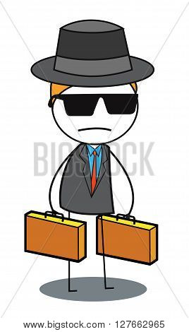 Mysterious man .eps10 editable vector illustration design