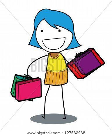 Woman shoping .eps10 editable vector illustration design