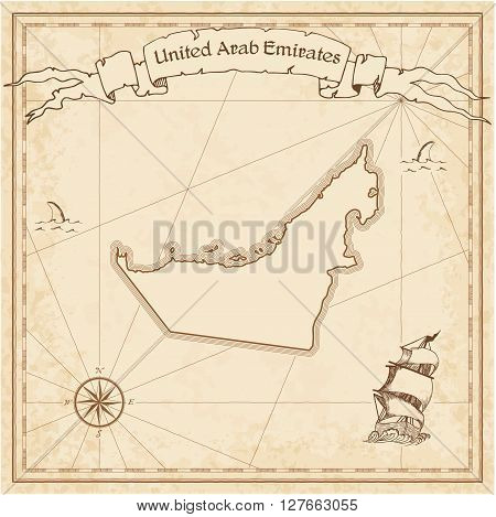 United Arab Emirates Old Treasure Map. Sepia Engraved Template Of Pirate Map. Stylized Pirate Map On