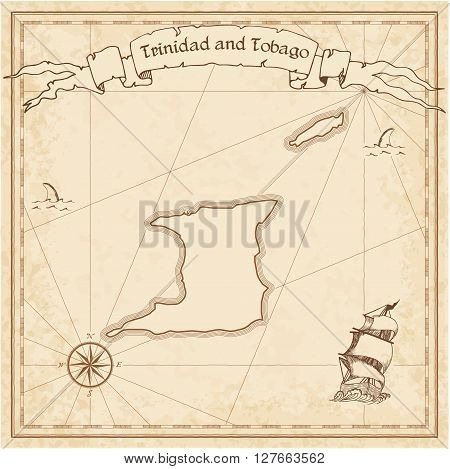 Trinidad And Tobago Old Treasure Map. Sepia Engraved Template Of Pirate Map. Stylized Pirate Map On