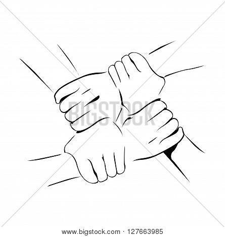 Unity Hand .eps10 editable vector illustration design