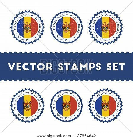 I Love Moldova, Republic Of Vector Stamps Set. Retro Patriotic Country Flag Badges. National Flags V
