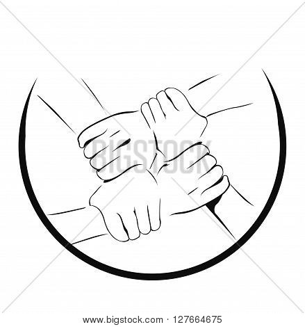 Unity Hand symbol .eps10 editable vector illustration design
