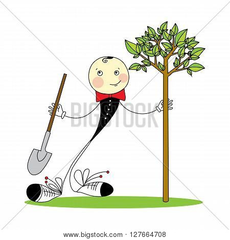 Greenery Day in Japan. cheerful boy with a shovel plants a tree. vector illustration isolated on white background.