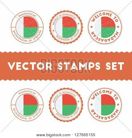 Malagasy Flag Rubber Stamps Set. National Flags Grunge Stamps. Country Round Badges Collection.