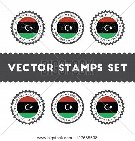 I Love Libya Vector Stamps Set. Retro Patriotic Country Flag Badges. National Flags Vintage Round Si