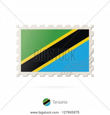 Postage Stamp With The Image Of Tanzania Flag.