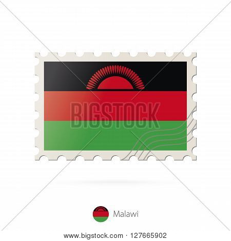 Postage Stamp With The Image Of Malawi Flag.