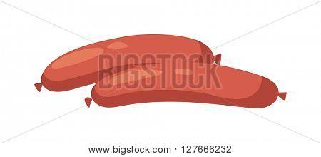 Smoked salami sausage isolated vector