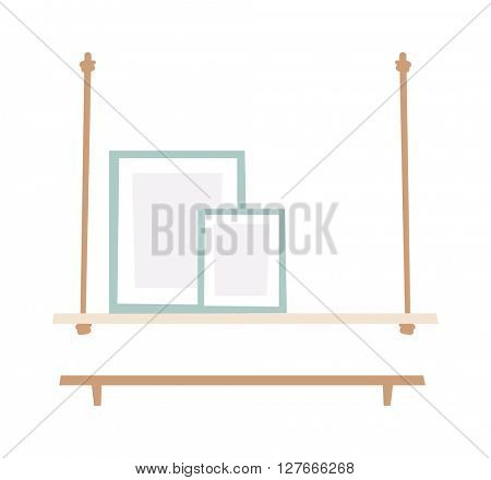 Bookshelf flat vector illustration.