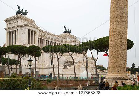 ROME, ITALY - APRIL 8, 2016:  Altar of the Fatherland (Altare della Patria) 1925. Piazza Venezia . Vittorio Emanuele II in Rome, Italy