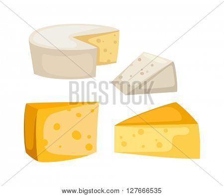 Cheese slices isolated vector