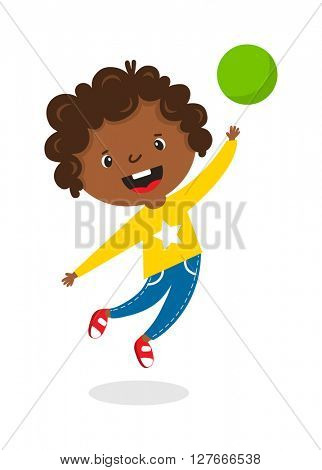 Jumping afro girl vector illustration.