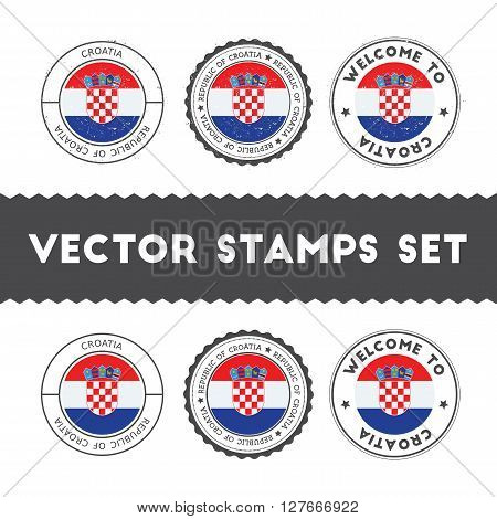 Croatian Flag Rubber Stamps Set. National Flags Grunge Stamps. Country Round Badges Collection.