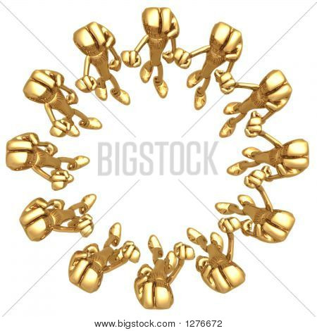 3D Giant Hand Head Concept Solidarity Clenched Fist Group In A Circle