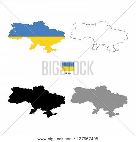 Ukraine country black silhouette and with flag on background isolated on white
