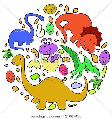 Dinosaur Cute Circle Banner.eps10 editable vector illustration design