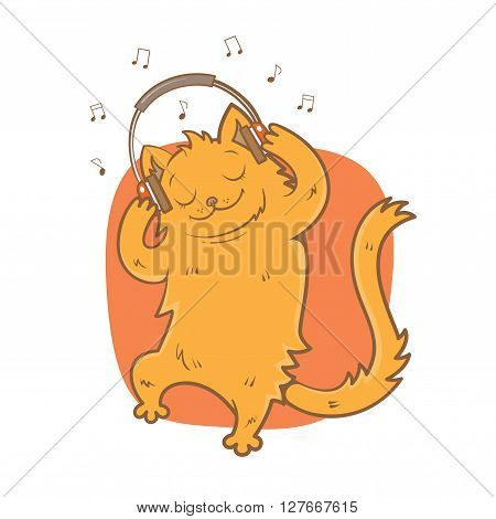 Card with cute cartoon  cat listening to music on headphones. Melody and notes.  Children's illustration. Vector image.