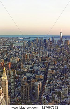 New York, USA - April 24, 2015: Aerial view from Observatory deck of the Empire State Building of Flatiron district in New York USA. Downtown Manhattan Lower Manhattan and Brooklyn Heights are on the background.