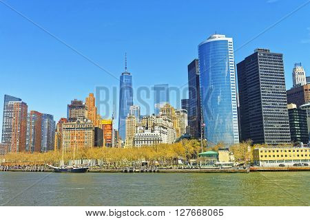 View from Ferry on Battery Park City in New York Harbor Manhattan USA. Hudson River.
