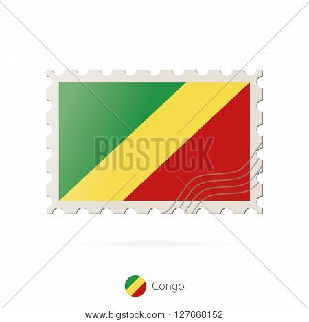 Postage Stamp With The Image Of Congo Flag.