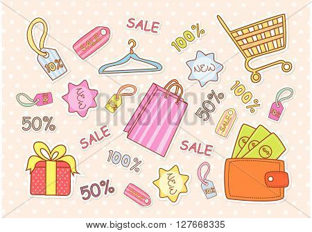 Fashion Shopping Accesories.eps10 editable vector illustration design