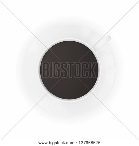 Coffee cup top view isolated on white background. 3D illustration