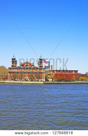 Immigration station in Ellis Island USA in Upper New York Bay. It was a gateway for immigrants who came to immigrant inspection.