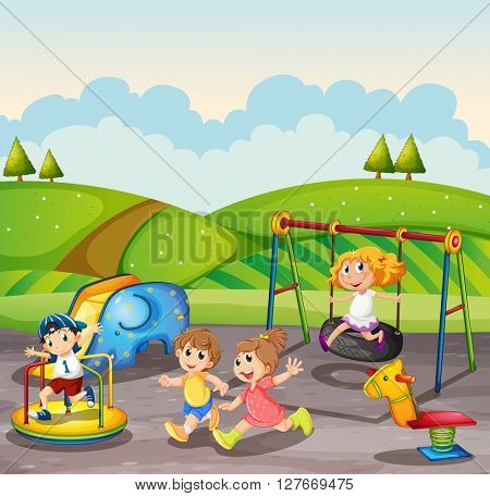Children playing in the playground at daytime illustration