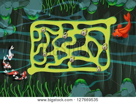 Game template with fish swimming in the pond illustration