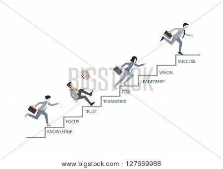 Concept of competition with Business people that climbs high stairs isolated on white background conceptual vector illustration.
