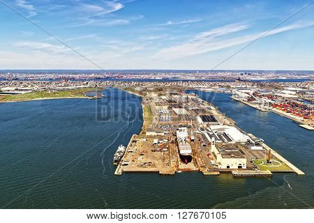 Aerial view of Bayonne Dry Dock and Repair in Bayonne New Jersey USA.