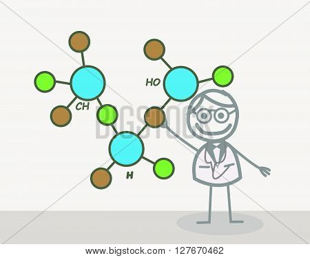Doodle :Scientist .eps10 editable vector illustration design