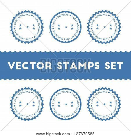 I Love Honduras Vector Stamps Set. Retro Patriotic Country Flag Badges. National Flags Vintage Round