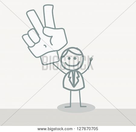 Funny Doodle : Business Man Peace Hand.eps10 editable vector illustration design